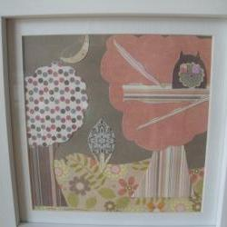 Wooden Night Scene Framed Picture